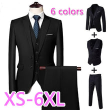Load image into Gallery viewer, New Men's Fashion Three-piece Suit (jacket + Pants + Vest) Suitable for Formal Occasions Business Work Ball Groom Groomsmen Wedding Dress