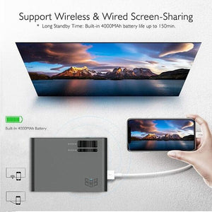 Home Theater HD 4K Android Projector Home Office Projector Wifi Bluetooth Connection Downloadable Software Game Watching Movie Mobile Phone Synchronization Screen