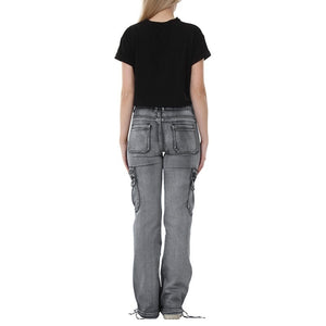 New Fashion Women Casual Cargo Pants Denim Trousers Jeans Multi Pockets Girls Vintage Jeans