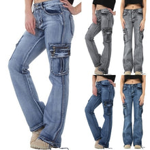 Load image into Gallery viewer, New Fashion Women Casual Cargo Pants Denim Trousers Jeans Multi Pockets Girls Vintage Jeans