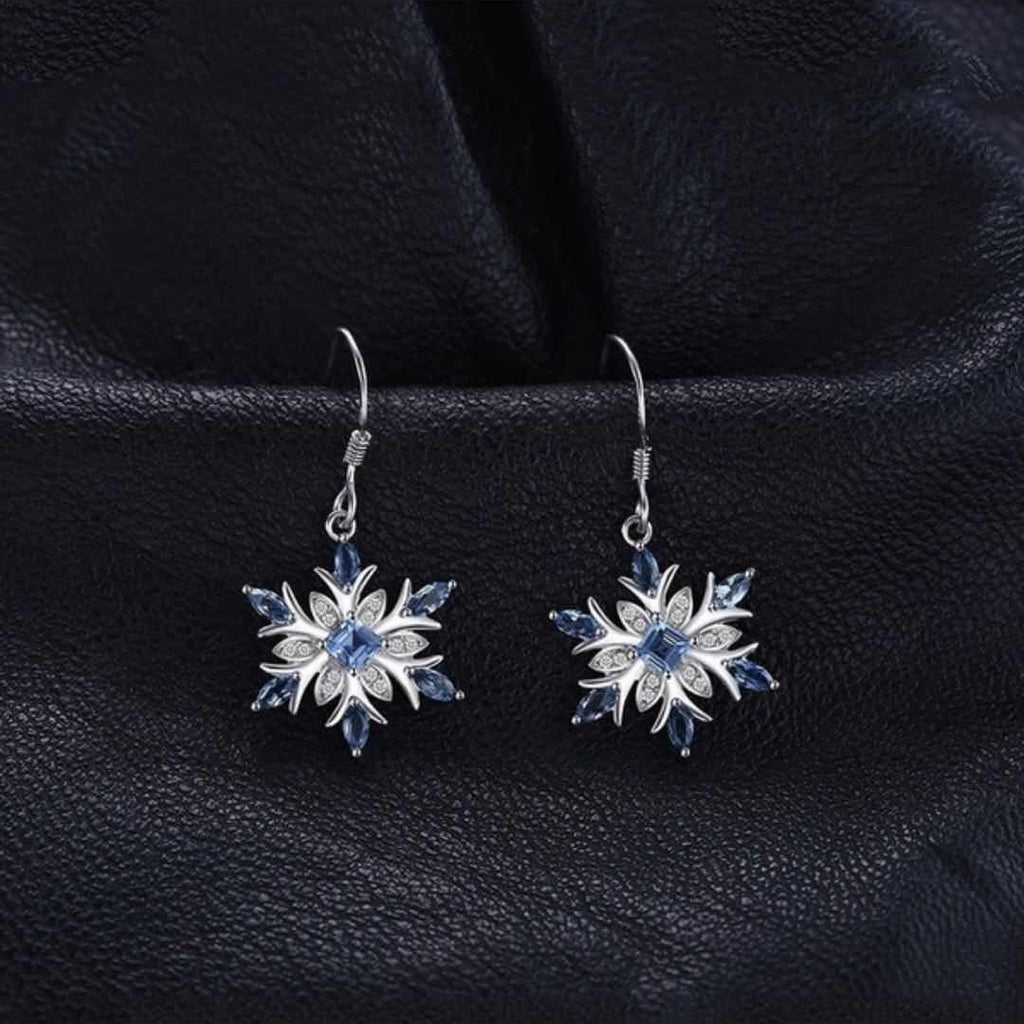 JewelryPalace Promotion 1.54ct Natural Blue Topaz Dangle Earrings 100% 925 Sterling Silver Snowflake Fashion Jewelry for Women