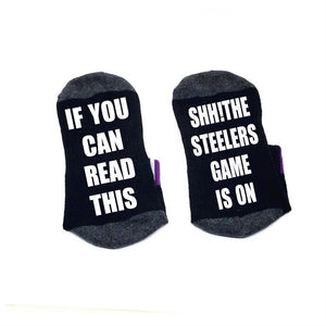 If you can read this Socks Shh! the Steelers game is on Socks cotton comfortable Men Women ankle Socks with cute sayings