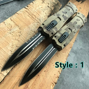 8.8inches Tactical Spring Assist Flick Blade Pocket Camping Hunting Edged (OTF Out The Front Blade) Assisted Opening for Outdoor Self Defense Survival Tools -6 Style