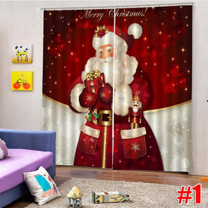 2Pcs/Set 150x166CM Christmas Decorative 3D Printed Window Curtain Drapery Drapes Door Screen Christmas Window Tapestry,10 Style