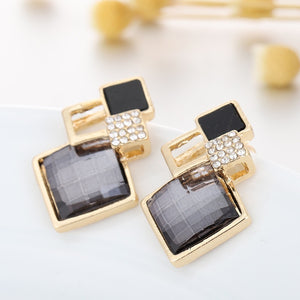Square glass crystal inlaid alloy pendant necklace earrings jewelry set female fashion jewelry