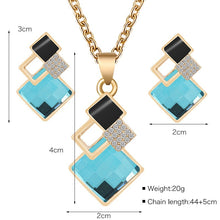 Load image into Gallery viewer, Square glass crystal inlaid alloy pendant necklace earrings jewelry set female fashion jewelry