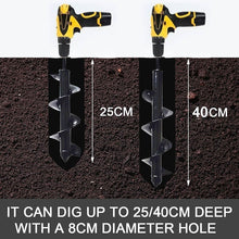 Load image into Gallery viewer, 250/400*90mm Earth Auger Garden Planting Machine Drill Bit Fence Borer Post Post Hole Digger Garden Tool