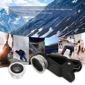 3-in-1 Multifunctional Phone Lens Kit Fish Lens+Macro Lens + Wide Angle Lens