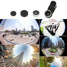 Load image into Gallery viewer, 3-in-1 Multifunctional Phone Lens Kit Fish Lens+Macro Lens + Wide Angle Lens