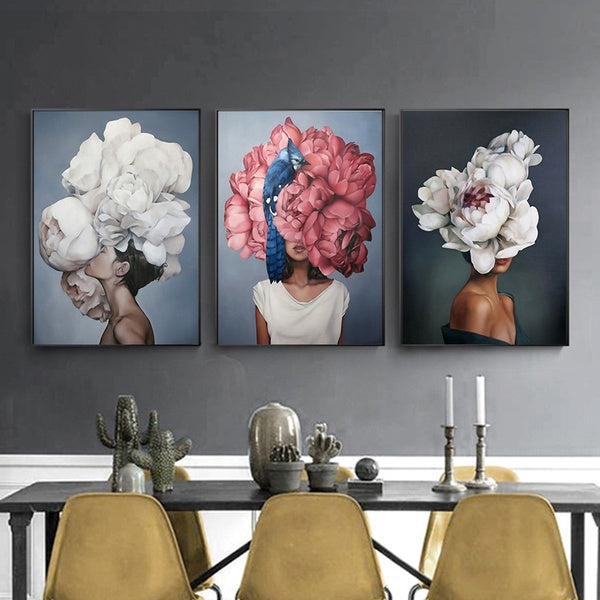 Fashion Sex Lady Flower Figure Girl Nordic Canvas Painting Wall Art Modern Posters and Prints for Home Decor