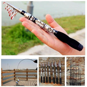 1Pc Portable Mini Carbon Fiber Telescopic Fishing Rod Spinning Outdoor Travel Sea Fishing Rod Fishing Enthusiasts tool