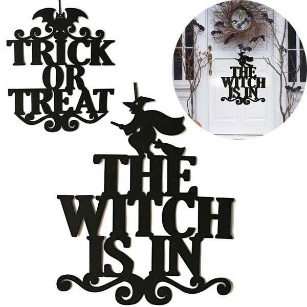 The Witch Is In Halloween Hanging Sign Door Hanging Halloween Decoration