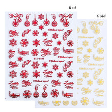 Load image into Gallery viewer, 1pcs Christmas Nail Sticker 3D Red Gold Sliders Metal Letters Decals Deer Snowflake Wraps DIY Nail Art Design