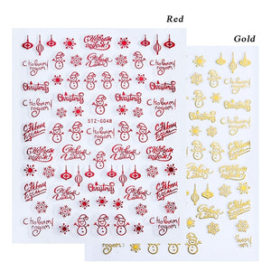 1pcs Christmas Nail Sticker 3D Red Gold Sliders Metal Letters Decals Deer Snowflake Wraps DIY Nail Art Design