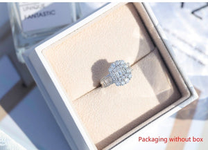Exquisite Princess Square Simulation Diamond Ring Wedding Wheel Shape Female Engagement Ring