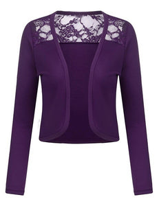 Fashion Women's Long Sleeve Bolero Shrug Crochet Flora Lace Cropped Open Front Cardigan Sweaters Plus Size S-5XL