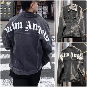 New Denim Jacket PALM ANGELS Fashion Coat Men's Casual Jacket Ladies Cool Jacket Long-sleeved Lapel Jacket Couple Coat Autumn and  Winter Jacket Plus Size XS-3XL