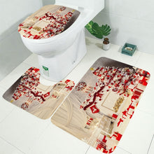 Load image into Gallery viewer, 10 Types Christmas Backgdrop Snow Printing Waterproof Bathroom Shower Curtain Bath Curtain Toilet Cover Mat Set Non-Slip Rugs