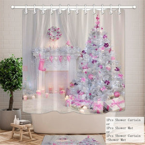 10 Types Christmas Backgdrop Snow Printing Waterproof Bathroom Shower Curtain Bath Curtain Toilet Cover Mat Set Non-Slip Rugs