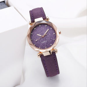 Casual Women Starry Sky Wrist Watch Leather Rhinestone Ladies Clock Simple Dress Gfit Montre Femme