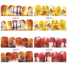 Load image into Gallery viewer, 3D Nail Art Decoration Nail Tips Nail Art Sliders Autumn Style Gold Maple Leaves Nail Stickers Water Transfer Decal