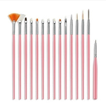 Load image into Gallery viewer, 15PCS/Set Gel Polish Brushes Pink Tools Gel Painting Pen Nail Tools Nail Brush Dotting Painting Drawing Pen Nail Art