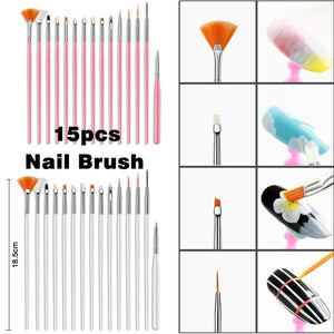 15PCS/Set Gel Polish Brushes Pink Tools Gel Painting Pen Nail Tools Nail Brush Dotting Painting Drawing Pen Nail Art