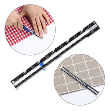 Load image into Gallery viewer, 1pc New Aluminum Plastic Sewing Seam Ruler Cloth Patchwork Quilting Tailor Ruler Measuring Gauge Sewing Accessories
