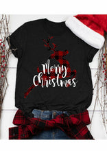 Load image into Gallery viewer, Women Ladies Fashion Buffalo Plaid Reindeer Print Christmas Shirt Short Sleeve T-shirts