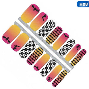 1X Halloween Series Christmas Styles Nail Sticker Decals Wraps Full Cover Patches Diy Self Adhesive Nail Stickers