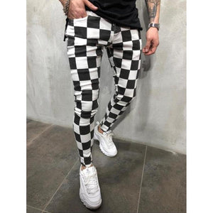 New Men'S Fashion Slim Trousers Comfortable Striped Plaid Black White Casual Pants