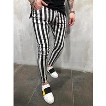 Load image into Gallery viewer, New Men'S Fashion Slim Trousers Comfortable Striped Plaid Black White Casual Pants