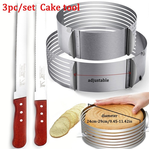 Adjustable Cake Layer Slicer Ring Mold Adjustable Stainless Steel Mousse DIY Round Cutter Serrated Toast Knife Baking Tool