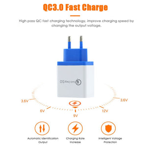 2019 New 4 Port Wall EU US Plug Mobile Phone USB Charger Adapter QC 3.0 Quick Charge