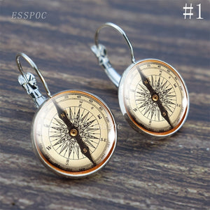 Vintage Compass Silver Hoop Earring Steampunk Compass Glass Cabochon Fashion Travel Souvenir Jewelry (It's Not A Real Compass )