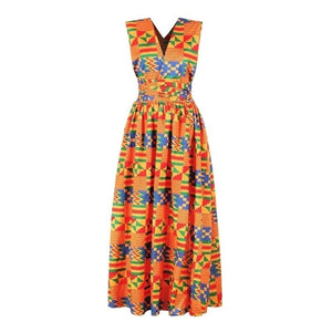 2019 New Fashion Long Robe Africa Traditional Clothing Geometric Print Elastic Maxi Dresses for Women Party Dress
