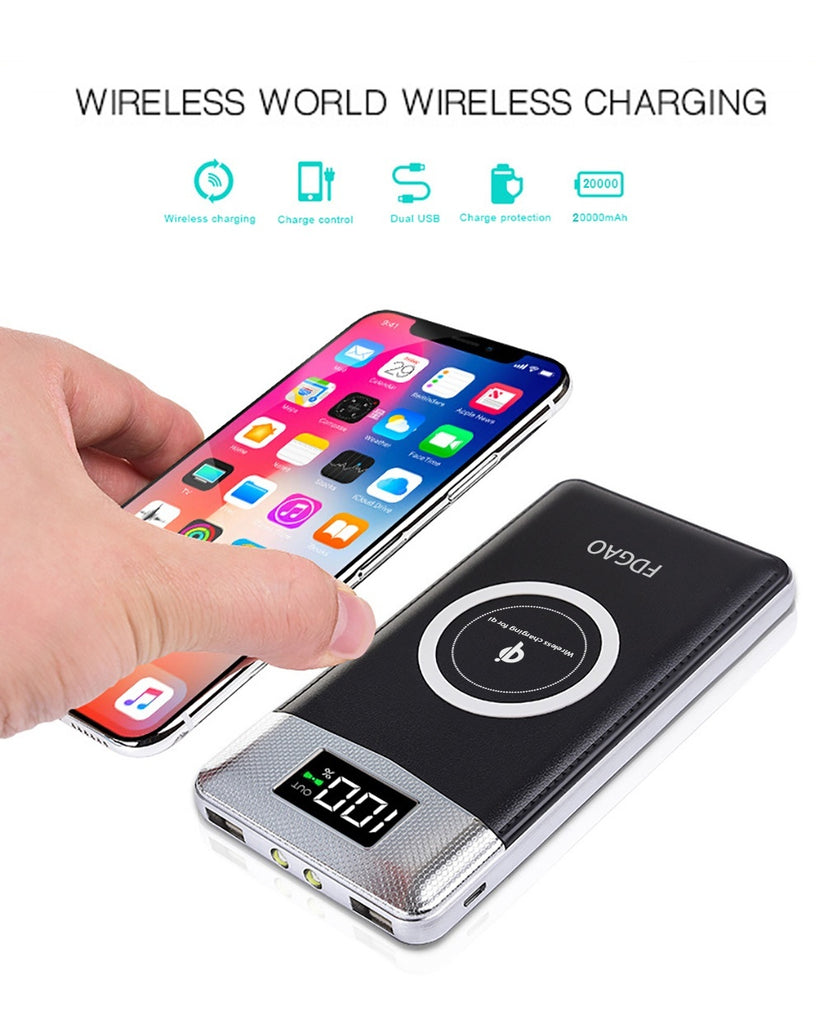 FDGAO Qi Fast Wireless Charger 20000mAh Travel Power Bank Dual USB LCD Exteranl Battery Mobile Phone Charger