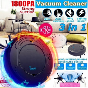 3-in-1 rechargeable intelligent sweeping robot 1800PA strong suction smart floor cleaner, automatic sweeping robot dry and wet sweeping vacuum cleaner powerful vacuum cleaner cleaner for home office, help you clean up garbage and dirt at any time