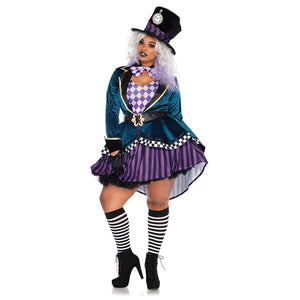 2019 Halloween Cosplay Hatter DS Costume for Women Adult Magic Girls Cosplay Halloween Magician Costumes Outfits Clubwear Stage Performance Clothing Animal Trainer Acrobatics Dress