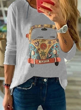 Load image into Gallery viewer, Autumn Women's Fashion Long Sleeve Tops Round Neck Cute T-shirts Cartoon Printed Blouse Plus Size XS-5XL