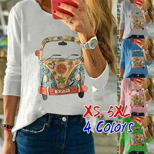 Autumn Women's Fashion Long Sleeve Tops Round Neck Cute T-shirts Cartoon Printed Blouse Plus Size XS-5XL