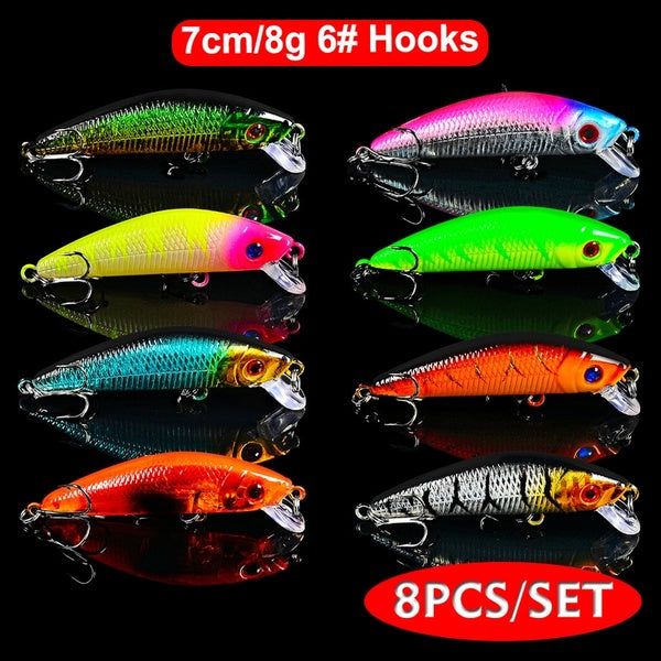 8PC Minnow Fishing Lure 7cm/8g Crank Bait 6# Treble Hooks Bass Crankbait Artificial Trout Wobblers Tackle