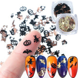 1pc Mix Halloween Black Witch Sequins for Nail Spider Metal Flake Pumpkin Face Alloy Paillettes DIY Slices Nail Gem Accessories