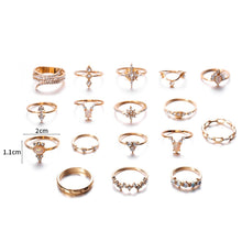 Load image into Gallery viewer, 17 pcs/Set Boho Luxury 18K Gold Rings Finger Ring Set Joint Knuckle Rings Gemstone Irregularity Rings Women Jewelry Christmas Gifts