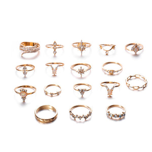 17 pcs/Set Boho Luxury 18K Gold Rings Finger Ring Set Joint Knuckle Rings Gemstone Irregularity Rings Women Jewelry Christmas Gifts