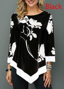 3 Colors Women's Autumn Floral Printed Long Sleeve T Shirt Ladies Casual Tops Plus Size S-XXXXXL