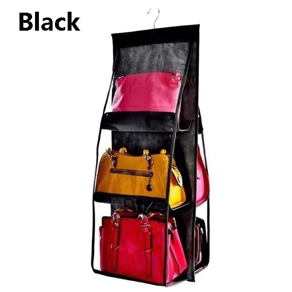 Double Side Transparent 6 Pocket Organizer Backpack Handbag Storage Bags Shoe Storage Bag Home Supplies Closet Rack Hangers