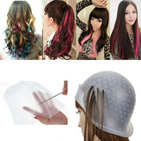 Professional Reusable Hair Colouring Highlighting Rubber Cap Streaking and Hook