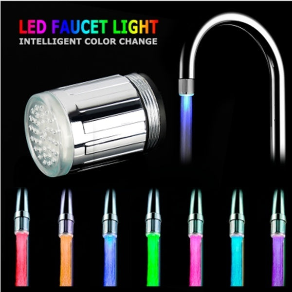 7 Color RGB Colorful LED Light Water Glow Stainless Steel Faucet Tap Head