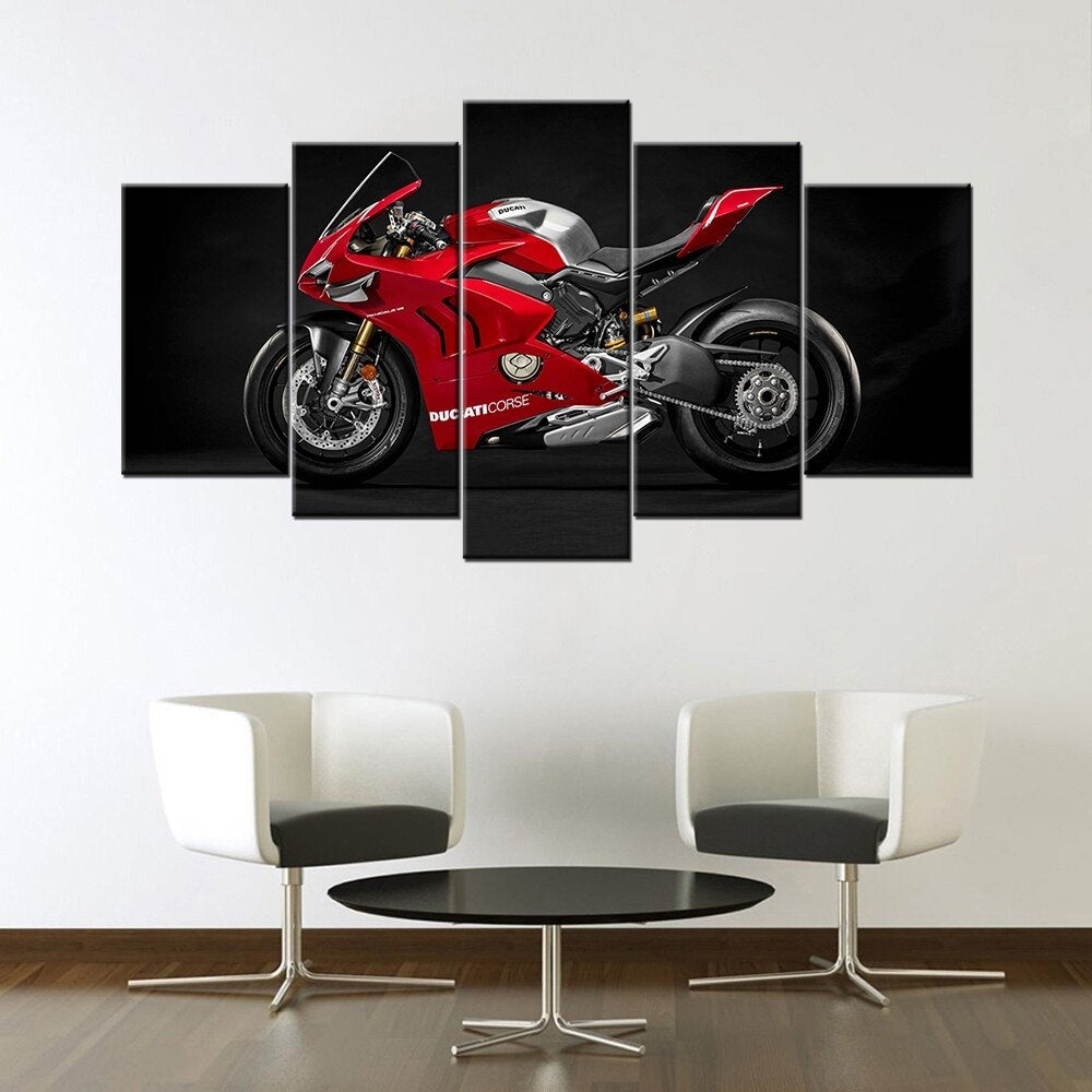 Canvas Painting 5 Pieces Ducati Panigale V4 R Race Motorcycle  Wall Art HD Prints Modular Pictures Home Bedside Decor Poster(No Frame)